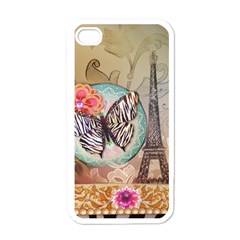 Fuschia Flowers Butterfly Eiffel Tower Vintage Paris Fashion Apple Iphone 4 Case (white)
