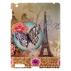Fuschia Flowers Butterfly Eiffel Tower Vintage Paris Fashion Apple Ipad 3/4 Hardshell Case by chicelegantboutique