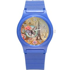 Fuschia Flowers Butterfly Eiffel Tower Vintage Paris Fashion Plastic Sport Watch (small) by chicelegantboutique