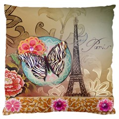 Fuschia Flowers Butterfly Eiffel Tower Vintage Paris Fashion Large Cushion Case (two Sided)  by chicelegantboutique