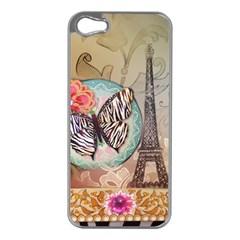 Fuschia Flowers Butterfly Eiffel Tower Vintage Paris Fashion Apple Iphone 5 Case (silver) by chicelegantboutique