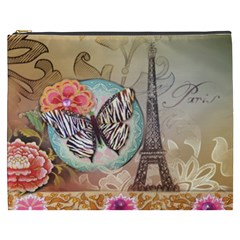 Fuschia Flowers Butterfly Eiffel Tower Vintage Paris Fashion Cosmetic Bag (xxxl)