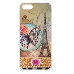 Fuschia Flowers Butterfly Eiffel Tower Vintage Paris Fashion Apple Iphone 5 Seamless Case (white) by chicelegantboutique