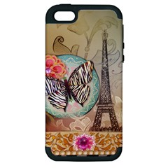 Fuschia Flowers Butterfly Eiffel Tower Vintage Paris Fashion Apple Iphone 5 Hardshell Case (pc+silicone) by chicelegantboutique