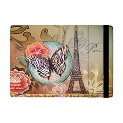 Fuschia Flowers Butterfly Eiffel Tower Vintage Paris Fashion Apple Ipad Mini Flip Case by chicelegantboutique