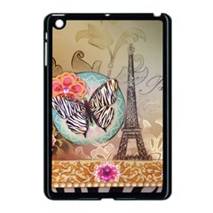 Fuschia Flowers Butterfly Eiffel Tower Vintage Paris Fashion Apple Ipad Mini Case (black)
