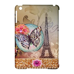 Fuschia Flowers Butterfly Eiffel Tower Vintage Paris Fashion Apple Ipad Mini Hardshell Case (compatible With Smart Cover) by chicelegantboutique