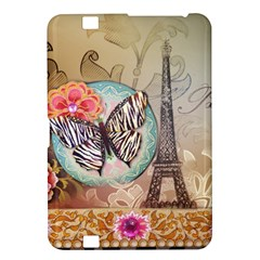 Fuschia Flowers Butterfly Eiffel Tower Vintage Paris Fashion Kindle Fire Hd 8 9  Hardshell Case by chicelegantboutique