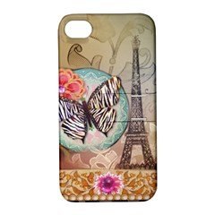 Fuschia Flowers Butterfly Eiffel Tower Vintage Paris Fashion Apple Iphone 4/4s Hardshell Case With Stand by chicelegantboutique