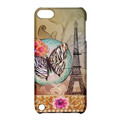 Fuschia Flowers Butterfly Eiffel Tower Vintage Paris Fashion Apple Ipod Touch 5 Hardshell Case With Stand by chicelegantboutique