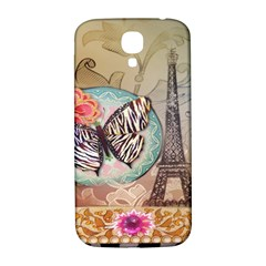 Fuschia Flowers Butterfly Eiffel Tower Vintage Paris Fashion Samsung Galaxy S4 I9500/i9505  Hardshell Back Case by chicelegantboutique