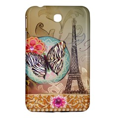 Fuschia Flowers Butterfly Eiffel Tower Vintage Paris Fashion Samsung Galaxy Tab 3 (7 ) P3200 Hardshell Case  by chicelegantboutique