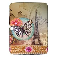 Fuschia Flowers Butterfly Eiffel Tower Vintage Paris Fashion Samsung Galaxy Tab 3 (10 1 ) P5200 Hardshell Case  by chicelegantboutique