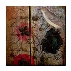 Vintage Bird Poppy Flower Botanical Art Ceramic Tile by chicelegantboutique