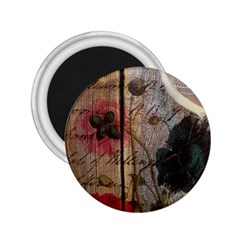 Vintage Bird Poppy Flower Botanical Art 2 25  Button Magnet by chicelegantboutique