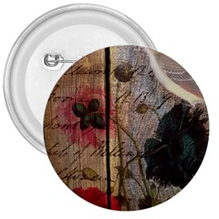 Vintage Bird Poppy Flower Botanical Art 3  Button by chicelegantboutique