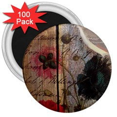 Vintage Bird Poppy Flower Botanical Art 3  Button Magnet (100 Pack)
