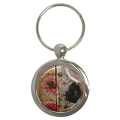 Vintage Bird Poppy Flower Botanical Art Key Chain (round) by chicelegantboutique