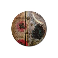 Vintage Bird Poppy Flower Botanical Art Magnet 3  (round) by chicelegantboutique
