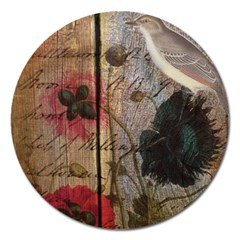 Vintage Bird Poppy Flower Botanical Art Magnet 5  (round) by chicelegantboutique