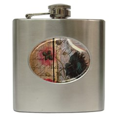 Vintage Bird Poppy Flower Botanical Art Hip Flask
