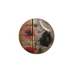 Vintage Bird Poppy Flower Botanical Art Golf Ball Marker 4 Pack by chicelegantboutique