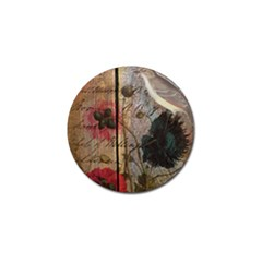 Vintage Bird Poppy Flower Botanical Art Golf Ball Marker 10 Pack by chicelegantboutique