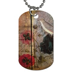 Vintage Bird Poppy Flower Botanical Art Dog Tag (two Sided)  by chicelegantboutique