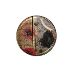 Vintage Bird Poppy Flower Botanical Art Golf Ball Marker (for Hat Clip) by chicelegantboutique