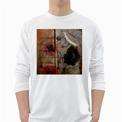 Vintage Bird Poppy Flower Botanical Art Mens' Long Sleeve T Shirt (white) by chicelegantboutique