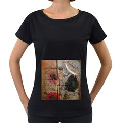 Vintage Bird Poppy Flower Botanical Art Womens' Maternity T Shirt (black) by chicelegantboutique