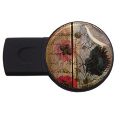 Vintage Bird Poppy Flower Botanical Art 4gb Usb Flash Drive (round) by chicelegantboutique
