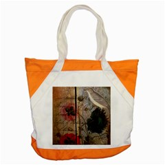 Vintage Bird Poppy Flower Botanical Art Accent Tote Bag by chicelegantboutique