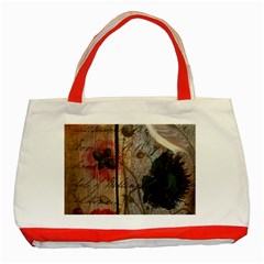 Vintage Bird Poppy Flower Botanical Art Classic Tote Bag (red) by chicelegantboutique