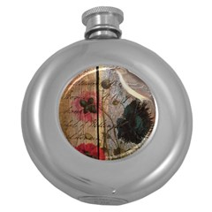 Vintage Bird Poppy Flower Botanical Art Hip Flask (round) by chicelegantboutique