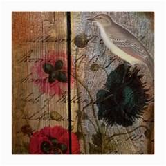 Vintage Bird Poppy Flower Botanical Art Glasses Cloth (medium, Two Sided) by chicelegantboutique