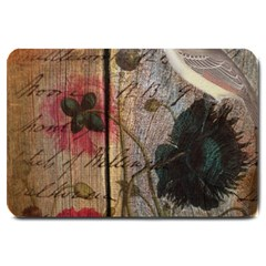 Vintage Bird Poppy Flower Botanical Art Large Door Mat