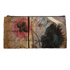 Vintage Bird Poppy Flower Botanical Art Pencil Case