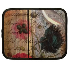 Vintage Bird Poppy Flower Botanical Art Netbook Case (xl) by chicelegantboutique