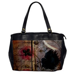 Vintage Bird Poppy Flower Botanical Art Oversize Office Handbag (one Side) by chicelegantboutique