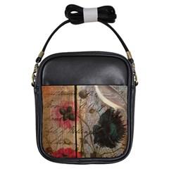 Vintage Bird Poppy Flower Botanical Art Girl s Sling Bag by chicelegantboutique