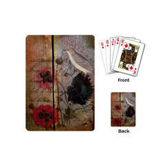 Vintage Bird Poppy Flower Botanical Art Playing Cards (mini) by chicelegantboutique