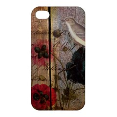 Vintage Bird Poppy Flower Botanical Art Apple Iphone 4/4s Hardshell Case by chicelegantboutique