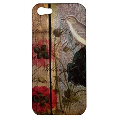 Vintage Bird Poppy Flower Botanical Art Apple Iphone 5 Hardshell Case by chicelegantboutique