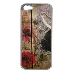 Vintage Bird Poppy Flower Botanical Art Apple Iphone 5 Case (silver) by chicelegantboutique