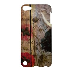 Vintage Bird Poppy Flower Botanical Art Apple Ipod Touch 5 Hardshell Case by chicelegantboutique