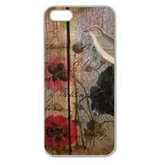 Vintage Bird Poppy Flower Botanical Art Apple Seamless Iphone 5 Case (clear) by chicelegantboutique