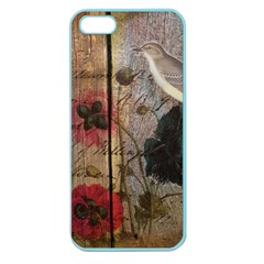 Vintage Bird Poppy Flower Botanical Art Apple Seamless Iphone 5 Case (color) by chicelegantboutique
