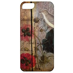 Vintage Bird Poppy Flower Botanical Art Apple Iphone 5 Classic Hardshell Case by chicelegantboutique