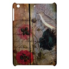 Vintage Bird Poppy Flower Botanical Art Apple Ipad Mini Hardshell Case